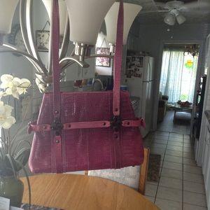 Stuart Weizmann Pink Croc Shoulder Bag